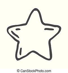 décoratif, doodle., vecteur, étoiles, freehand, dessiné, dessin animé