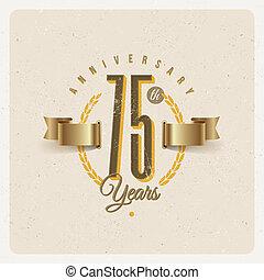 décoratif, doré, éléments, emblème, vendange, -, anniversaire, illustration, vecteur, type, ruban
