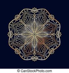 décoratif, doré, bleu, élément, fond, floral, mandala, rond