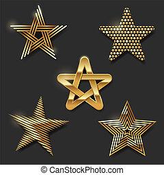 décoratif, doré, ensemble, étoiles