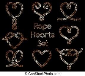 décoratif, doré, ensemble, corde, cœurs, nœuds