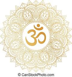décoratif, doré, om, ohm, symbole, ornament., aum, mandala, ...