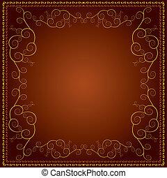 décoratif, doré, ornement, fond