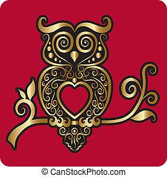 décoratif, doré, ornement, hibou