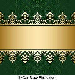 décoratif, doré, ornement, sombre, vecteur, arrière-plan vert