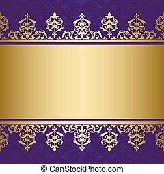 décoratif, doré, ornement, vecteur, fond, violet
