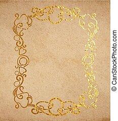 décoratif, doré, vieux, vendange, cadre, encre, texture, papier, orné