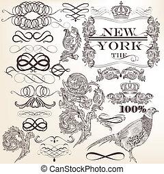 décoratif, el, ensemble, vecteur, vendange