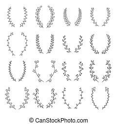 décoratif, elements., la, collection, main, vecteur, dessiné...
