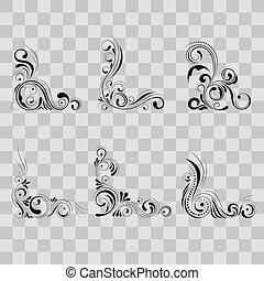 décoratif, ensemble, éléments, illustration., ornement, -, courbe, floral, vecteur, modèle fond, tourbillon, coin, frontière, transparent, design.