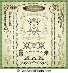 décoratif, ensemble, éléments, vendange, conception, grand