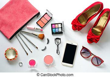 décoratif, ensemble, accessoires, produits de beauté, fond, blanc, femmes