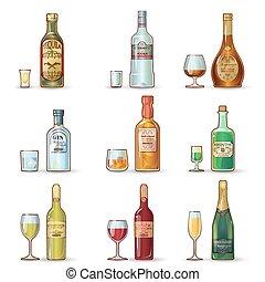 décoratif, ensemble, bouteilles, alcool, icônes