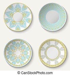 décoratif, ensemble, céramique, pattern., ethnique, plaques