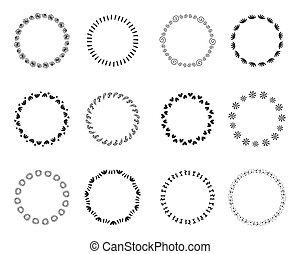 décoratif, ensemble, grande main, vendange, cadres, dessiné, rond