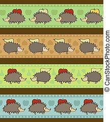 décoratif, ensemble, hedgehogs., 4, frontières, dessin animé