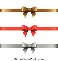 décoratif, ensemble, illustration., vecteur, or, arcs, ribbons., silver., rouges