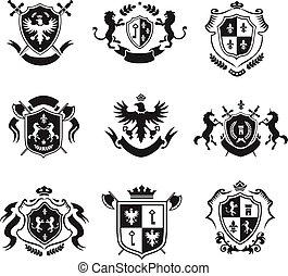 décoratif, ensemble, manteau, héraldique, bras, emblèmes, noir