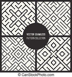 décoratif, ensemble, modèle géométrique, seamless, quatre, vecteur, noir, ethnique, ligne, blanc