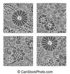 décoratif, ensemble, pattern., noir, ethnique, blanc, zendoodle