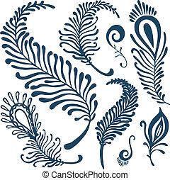 décoratif, ensemble, plumes