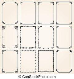 décoratif, ensemble, proportions, 5, cadres, frontières, rectangle