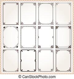 décoratif, ensemble, proportions, 6, cadres, frontières, rectangle
