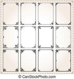 décoratif, ensemble, proportions, 7, cadres, frontières, rectangle