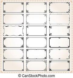 décoratif, ensemble, proportions, cadres, 4, 2x1, frontières, rectangle