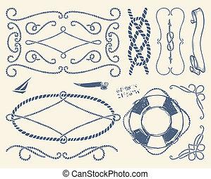 décoratif, ensemble, sur, whi, corde, cadres