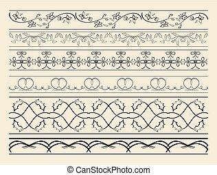 décoratif, ensemble, -, vecteur, décorations, floral, courbé, frontières