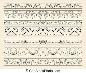 décoratif, ensemble, -, vecteur, décorations, floral, frontières