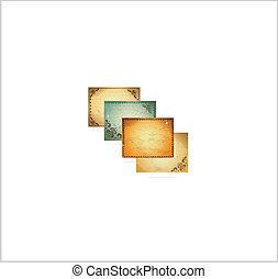 décoratif, ensemble, vendange, cadre, arrière-plans, symboles