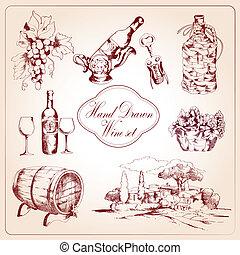 décoratif, ensemble, vin, icônes