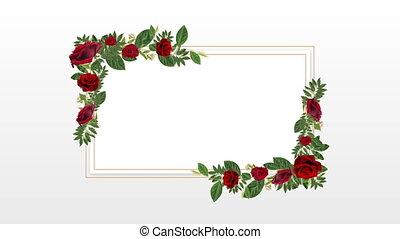 décoratif, espace, rouges, copie, porte-photo, roses