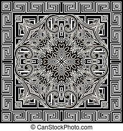 décoratif, ethnique, griffonnage, fleurs, modèle, frame., noir, grec, floral, vecteur, mandala, blanc, résumé, méandre, clã©, reprise, géométrique, toile fond., arrière-plan., ornement, carrée, tribal