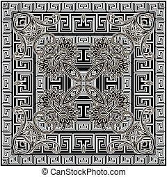 décoratif, ethnique, lignes, griffonnage, fleurs, modèle, noir, grec, floral, vecteur, blanc, résumé, méandre, clã©, seamless, frames., reprise, géométrique, toile fond., arrière-plan., ornement, carrée, tribal