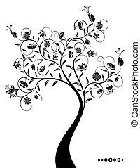 décoratif, fantastique, arbre.