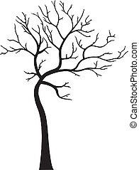 décoratif, feuilles, sans, arbre