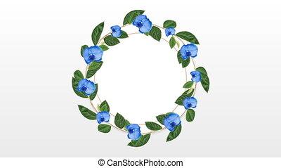 décoratif, fleur, espace, copie, porte-photo, bleu