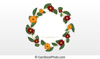 décoratif, fleur, espace copy, rouges, orange, porte-photo