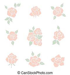 décoratif, fleur, rose, ensemble, silhouettes., icon.