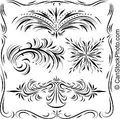 décoratif, fleurir, linework