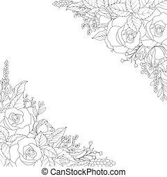 décoratif, fleurs blanches, fond