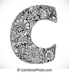 décoratif, fleurs, c., -, noir, lettre, doodles, blanc, police