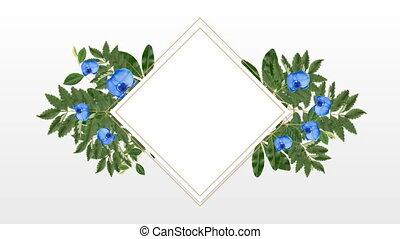 décoratif, fleurs, espace, copie, porte-photo, bleu