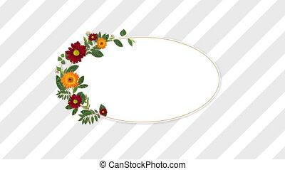 décoratif, fleurs, espace copy, rouges, orange, porte-photo
