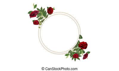décoratif, fleurs, espace, rouges, copie, porte-photo