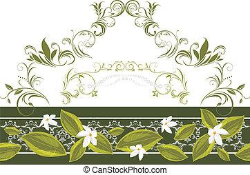 décoratif, fleurs, frontière
