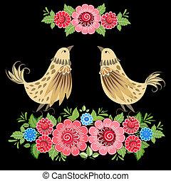 décoratif, fleurs, khokhloma, oiseau